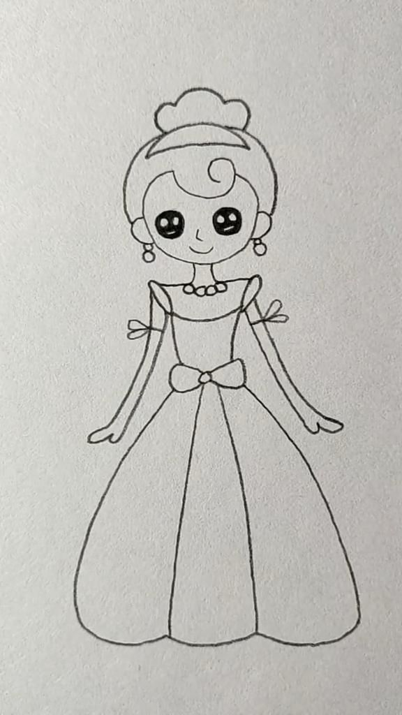 How to Draw A Pretty Princess-Easy Drawing Tutorial-Little Girl
