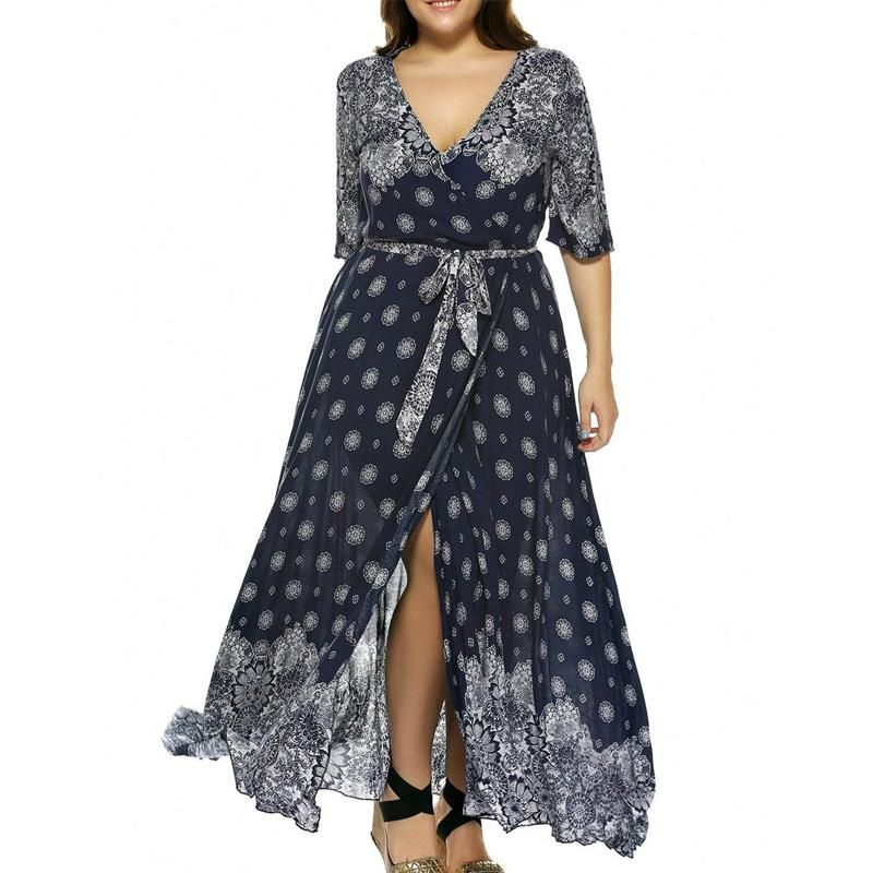 Plus Size Boho Print Flowy Beach Wrap Maxi Dress