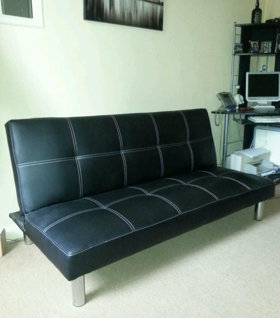 Black Faux Leather Sofa Bed Argos In 2020 Faux Leather Sofa Leather Sofa Bed Black Corner Sofa