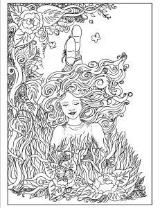 Art Nouveau Coloring Pages- Garden Child girl laying in garden ...