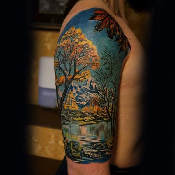 75 Tree Sleeve Tattoo Designs For Men Ink Ideas With Branches Tree Sleeve Tattoo Easy Half Sleeve Tattoos Half Sleeve Tattoos Drawings
