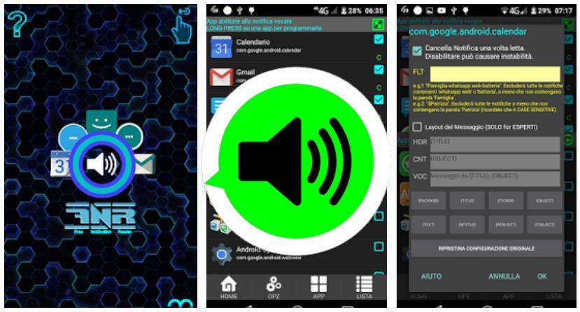 App Lettore Vocale di notifiche messaggi WhatsApp, SMS