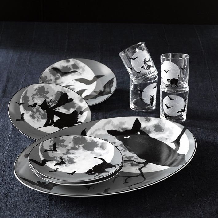 williams sonoma 2015 halloween full moon plates set 4 williamssonoma