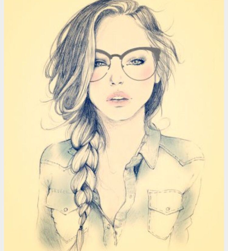 Girl sketch with photo shop glasses