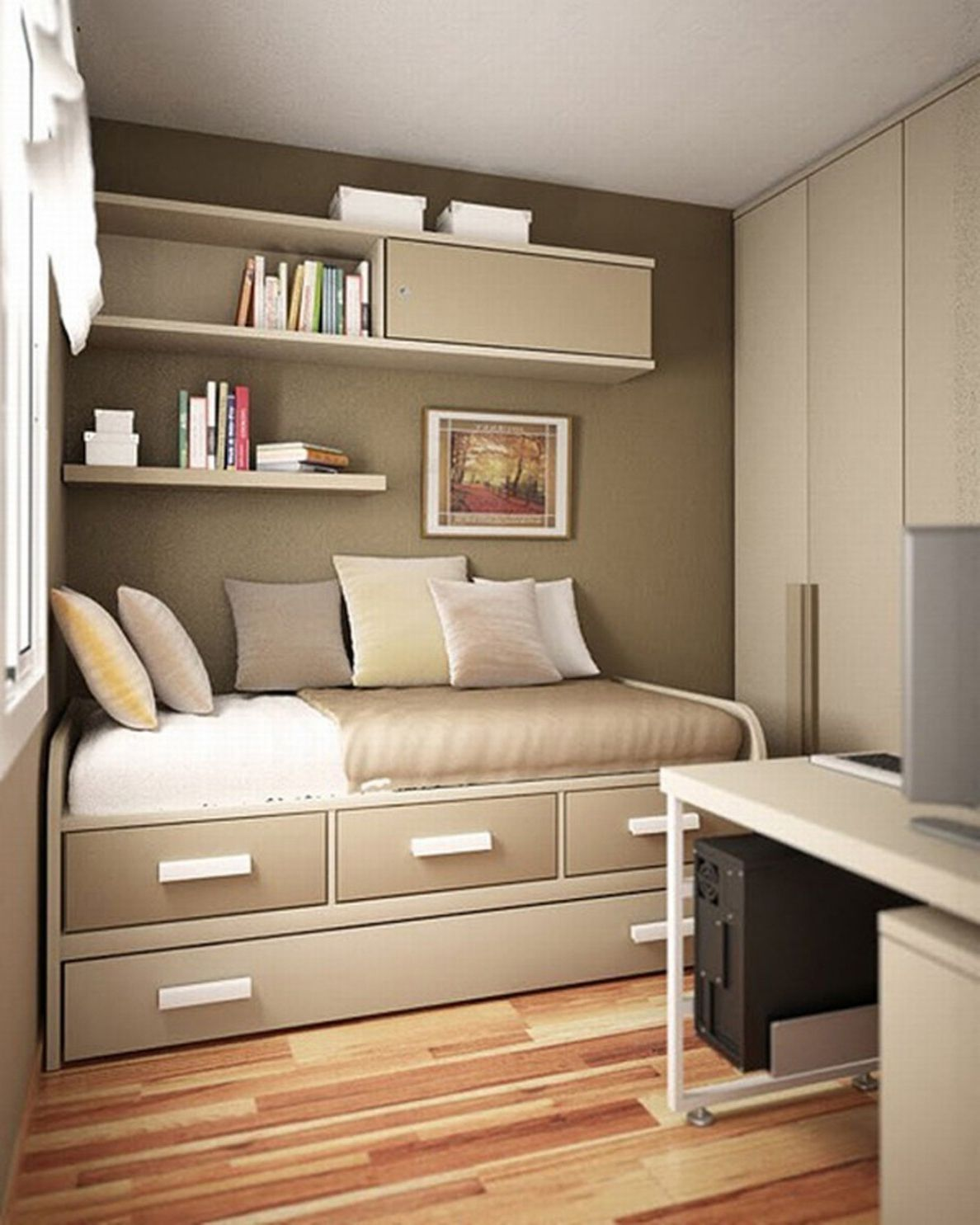 46 Small Bedroom Ideas For Space Saving With Images Small Bedroom Decor Small Room Bedroom Small Apartment Bedrooms