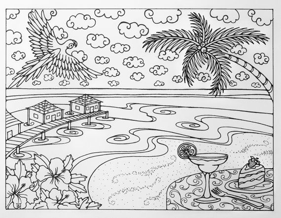 Tropical Beach Vacation Adult Coloring Page by ...