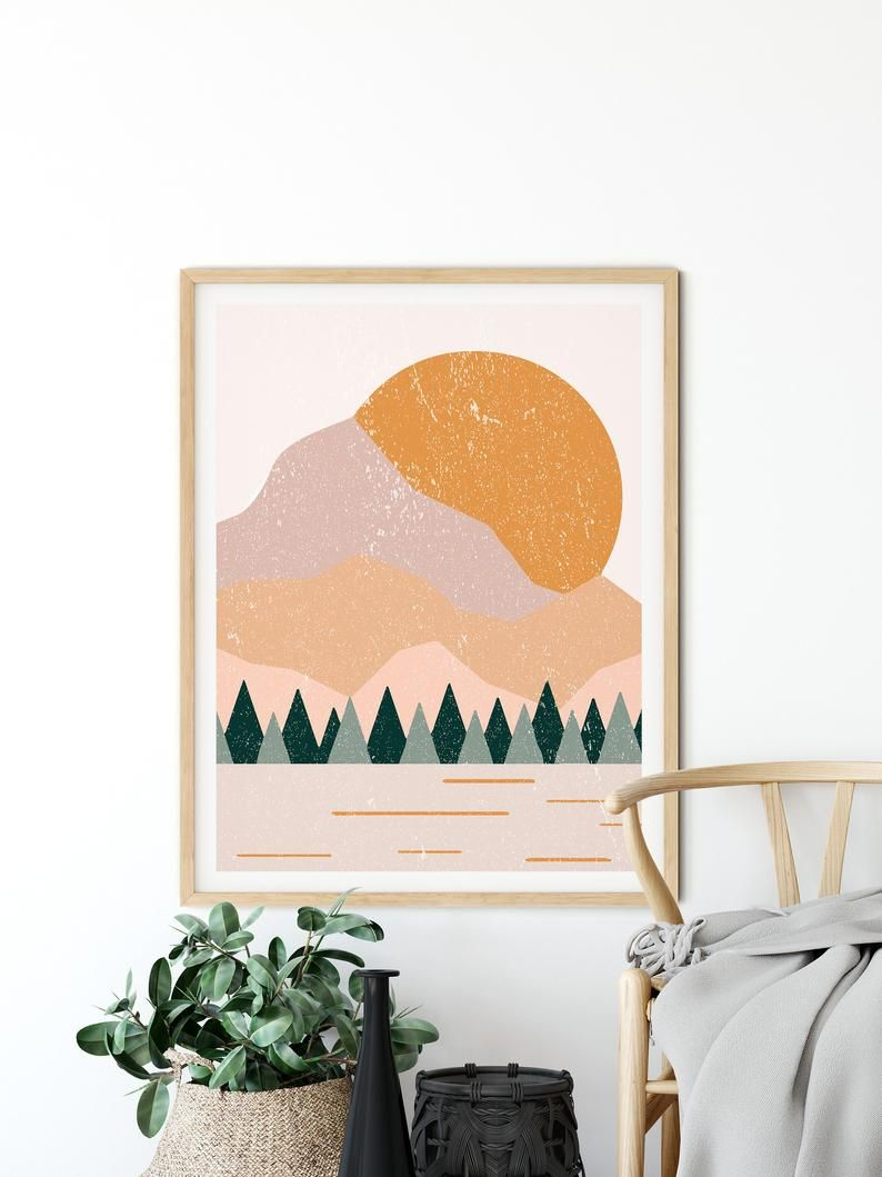 Boho Art Prints Boho Wall Decor Burnt Orange Print Mountain Etsy Wall Art Decor Living Room Boho Living Room Decor Boho Room Decor