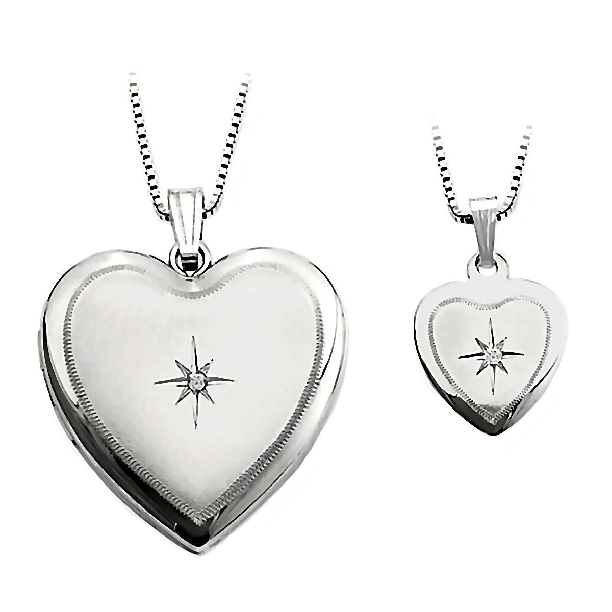 Heart and star just like mommy diamond silver locket and pendant