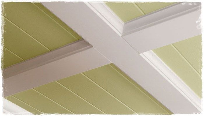 Decorative Kitchen Ceiling: Renew your kitchen by changing the looks of the ceiling with ornamental beams and panels, in a few easy steps, with materials and tools like: 3/16-in x 4-ft x 8-ft hardboard wall panel, 8-ft prefinished white cove moulding, 3/4-in x 3-1/2-in x, 12-ft primed board, adhesive, miter saw, circular saw, hammer, nails and finish nail driver.  1. Take measurements and mark equally spaced beams position 2. Straighten angles 3. Remove light fixtures and all similar items