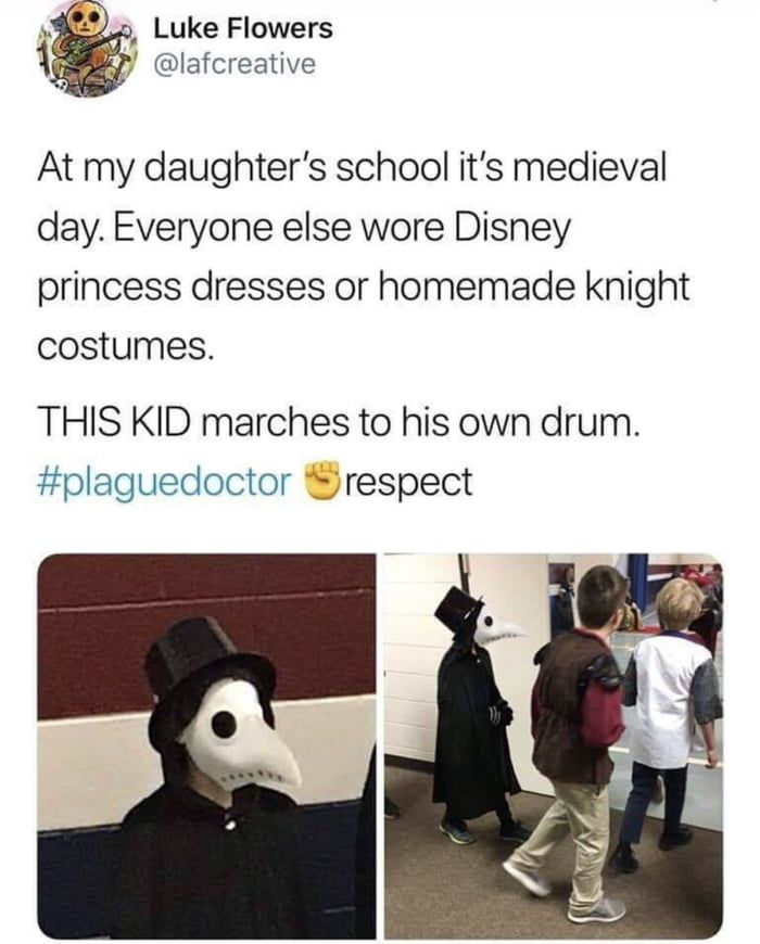 This not a costume. Kid just trying to avoid getting measles