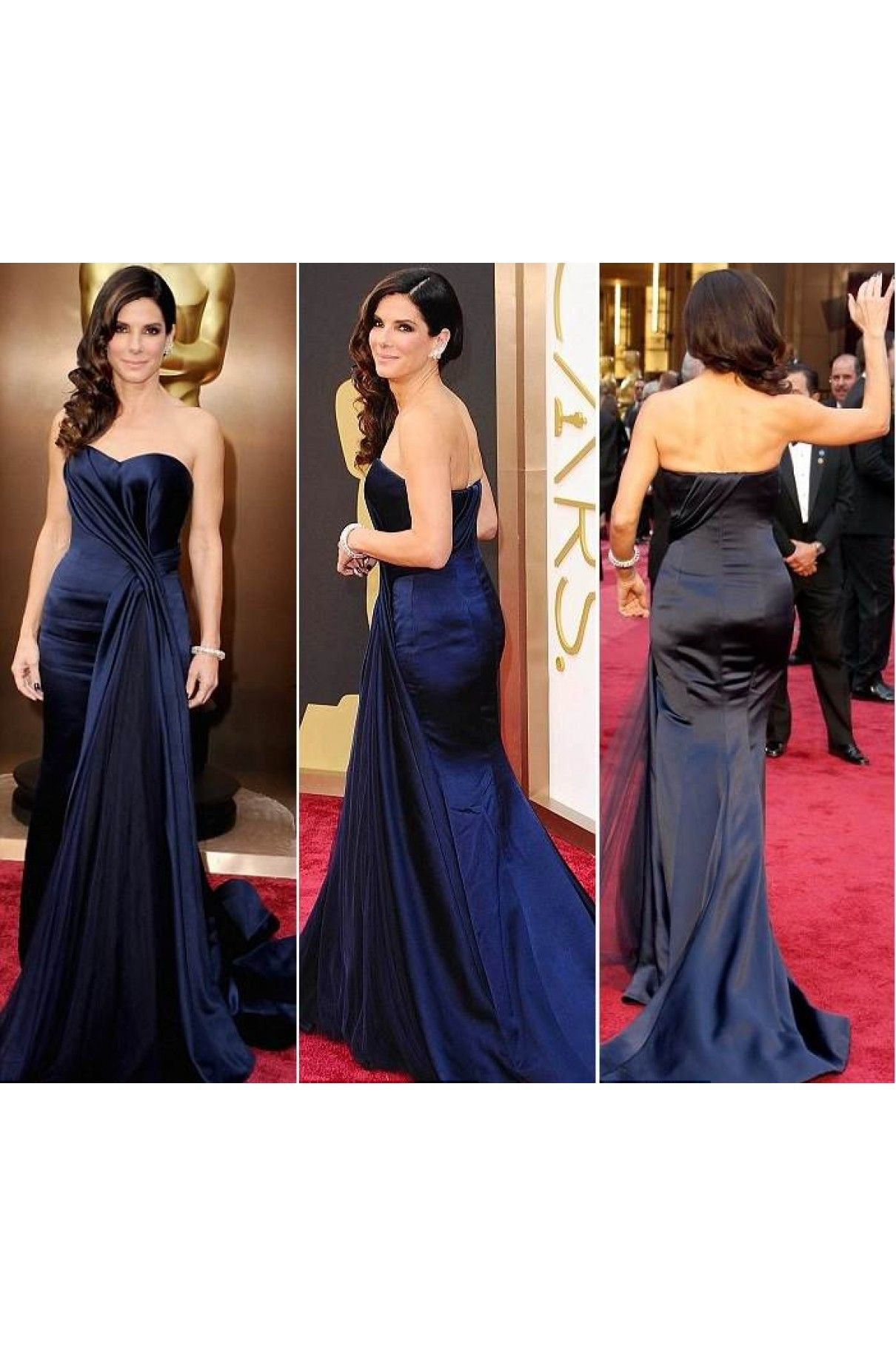 Sandra bullock oscars red carpet dark navy prom dress