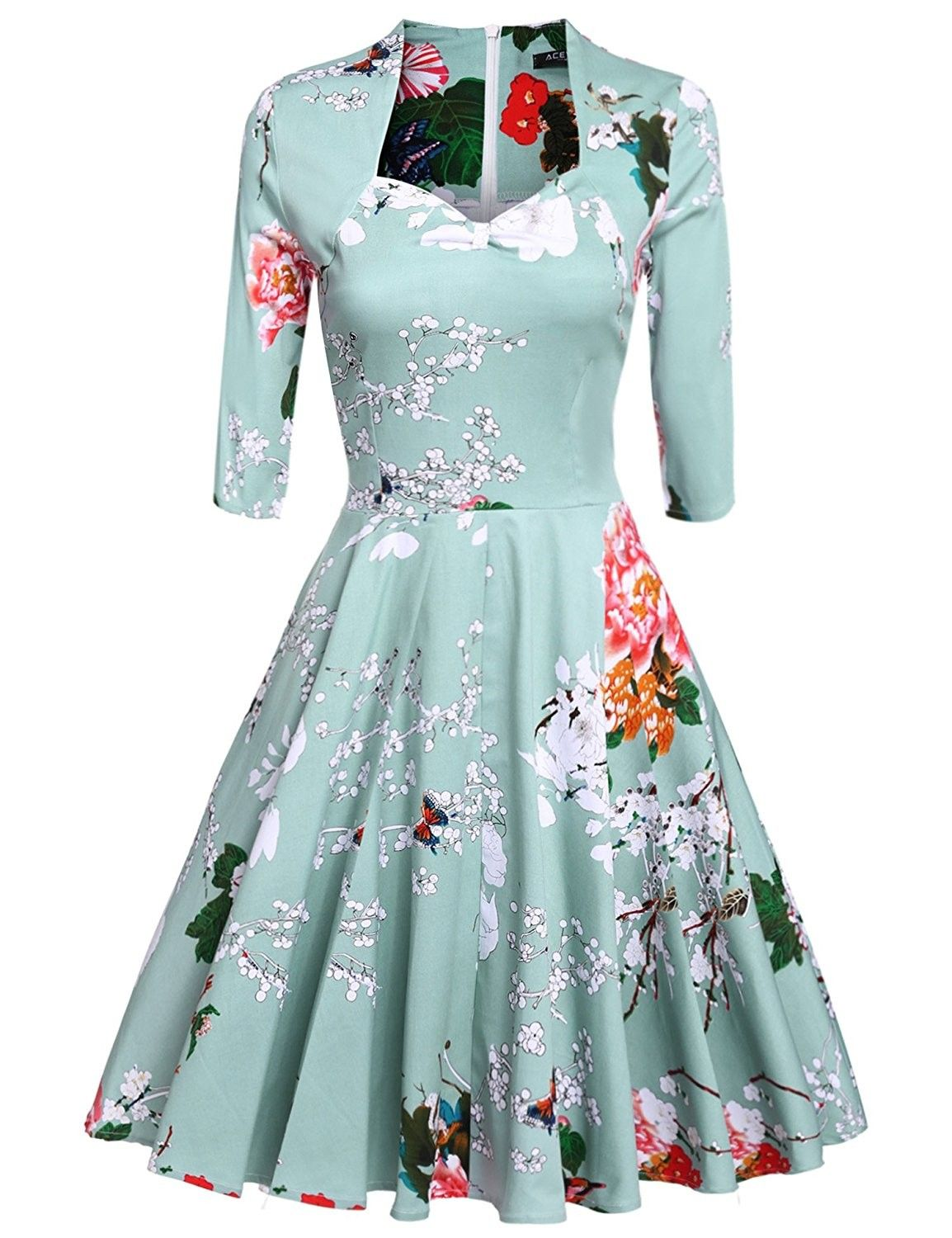 Women S Vintage 1950 S Floral 3 4 Sleeve Garden Party Picnic Dress Cocktail Dress Green C012ma19i1u Casual Dress Outfits Dresses Casual Dresses [ 1500 x 1154 Pixel ]