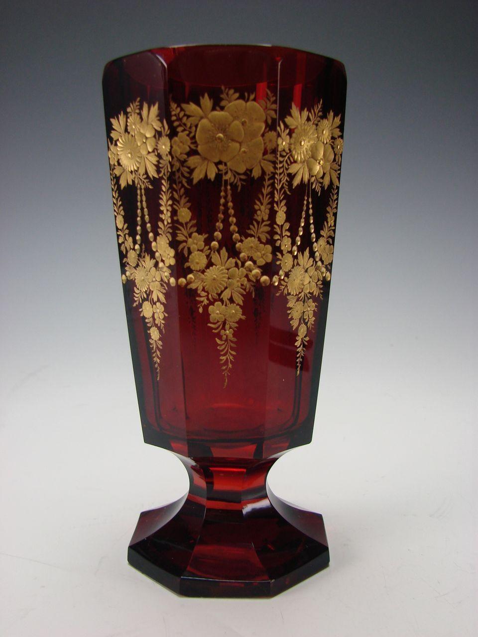 Antique Moser Bohemian Parcel Gilt Engraved Ruby Glass Vase Antique Glass Moser Glass Glass Art