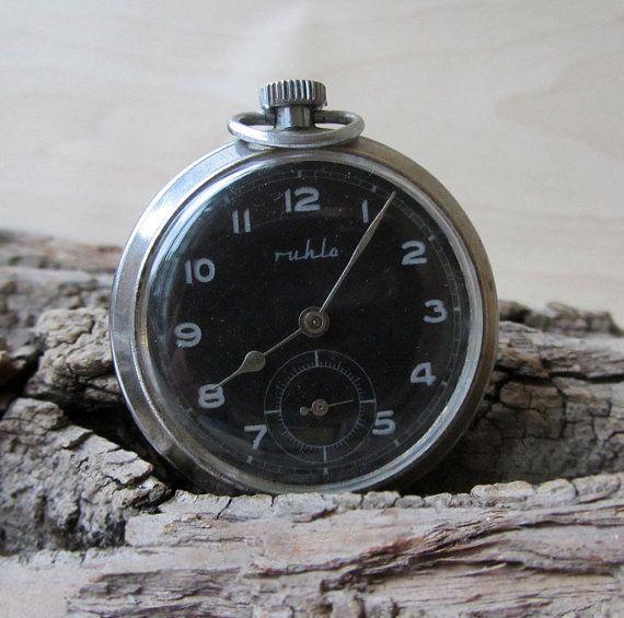 German Vintage Pocket Watch RuhlaRetro pocket by TedDiscovery, $55.00