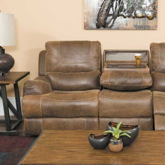 Austin Leather Power Reclining Sofa With Drop Down Table