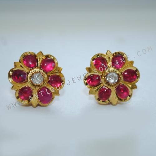 New Ruby Earring Traditional 7 Stone With Diamond Excellent Workmanship Weight
