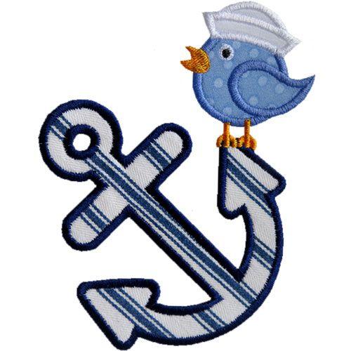 Anchor Sailor Bird Applique by Bird
