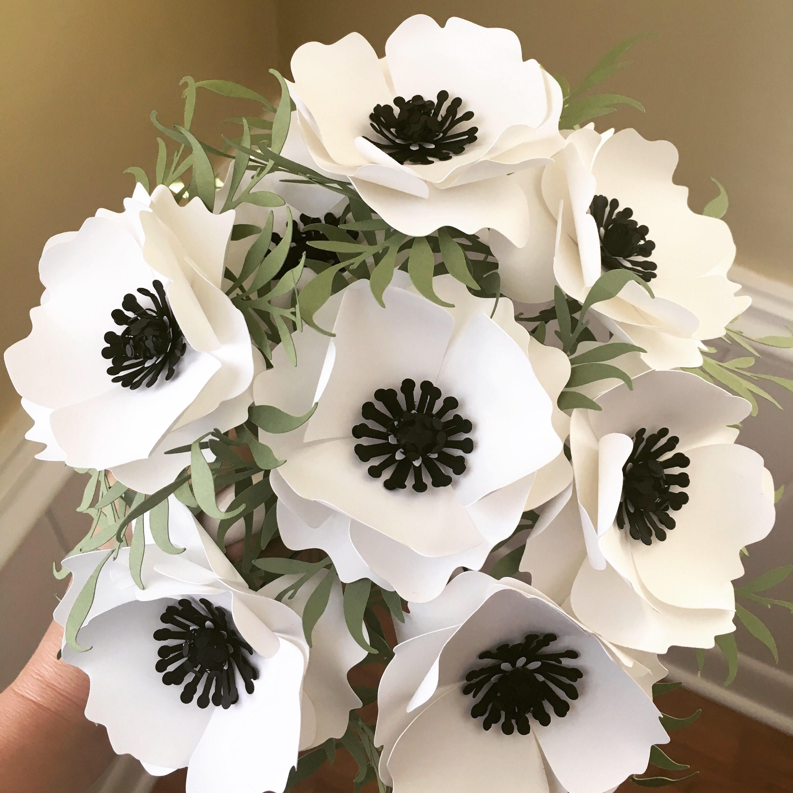 White Anemone Paper Flowers with Greenery - Black and White ...