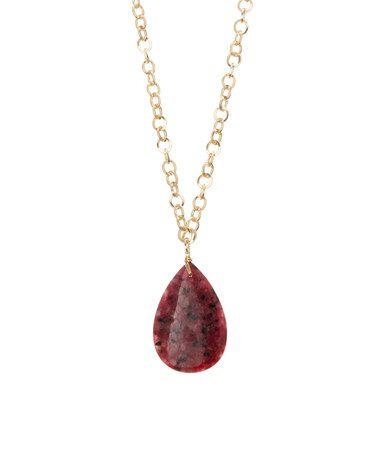 This Fuchsia Jasper Teardrop Pendant Necklace is perfect! #zulilyfinds