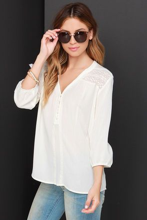Pretty Cream Top - High Low Top - Crocheted Top - $45.00