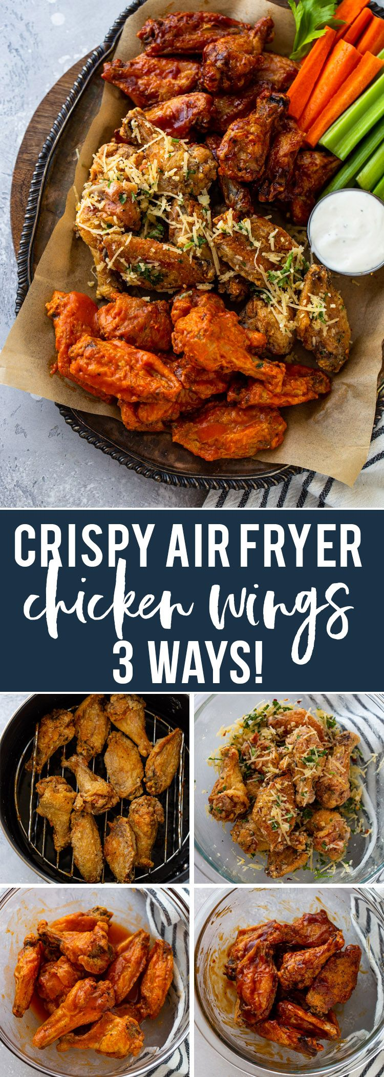 Crispy Air Fryer Chicken Wings (3 Ways!) | Gimme Delicious #airfryerrecipes