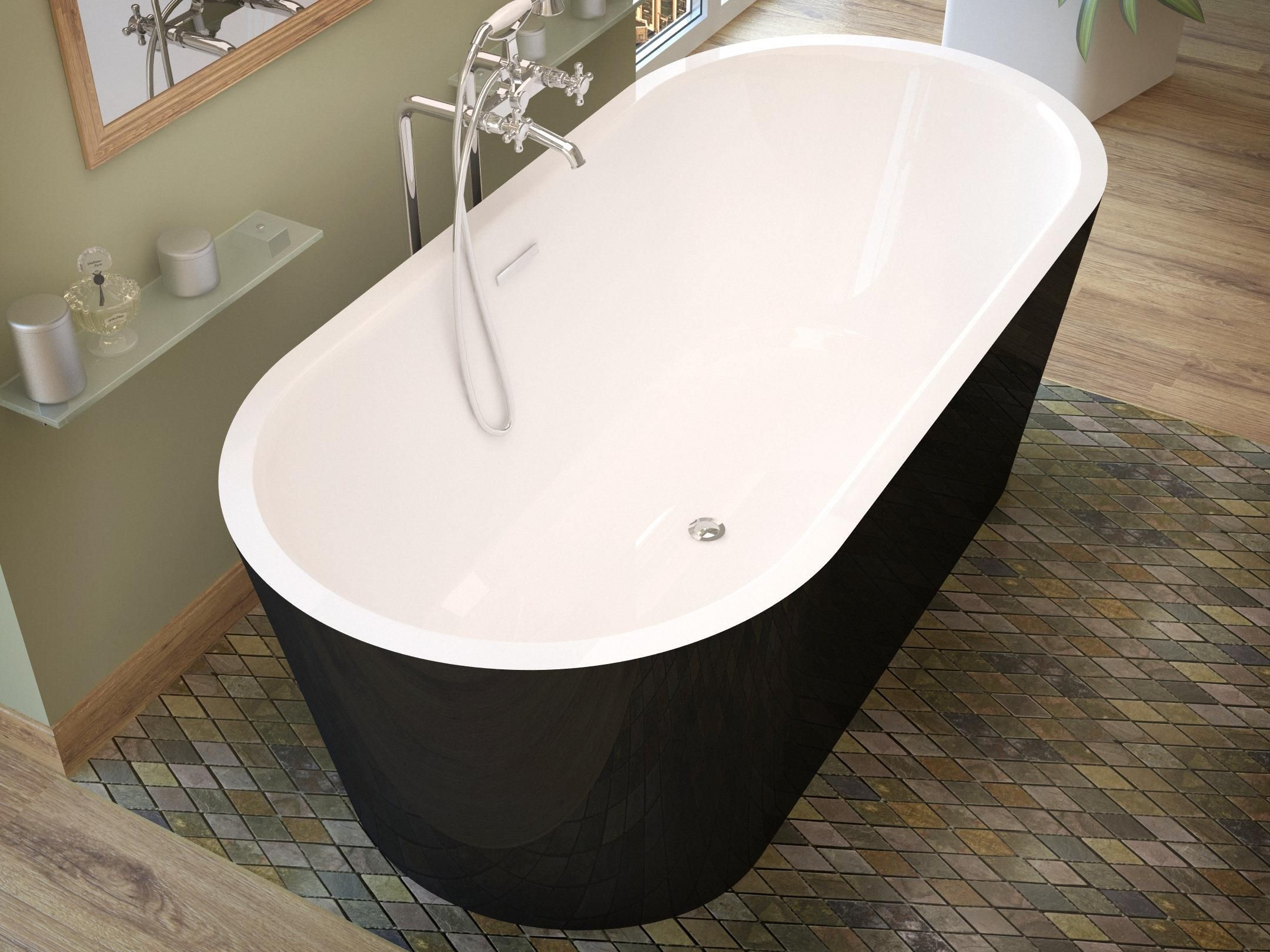 Venzi Tre, 32 x 63 Freestanding One Piece Soaker Tub with Center ...