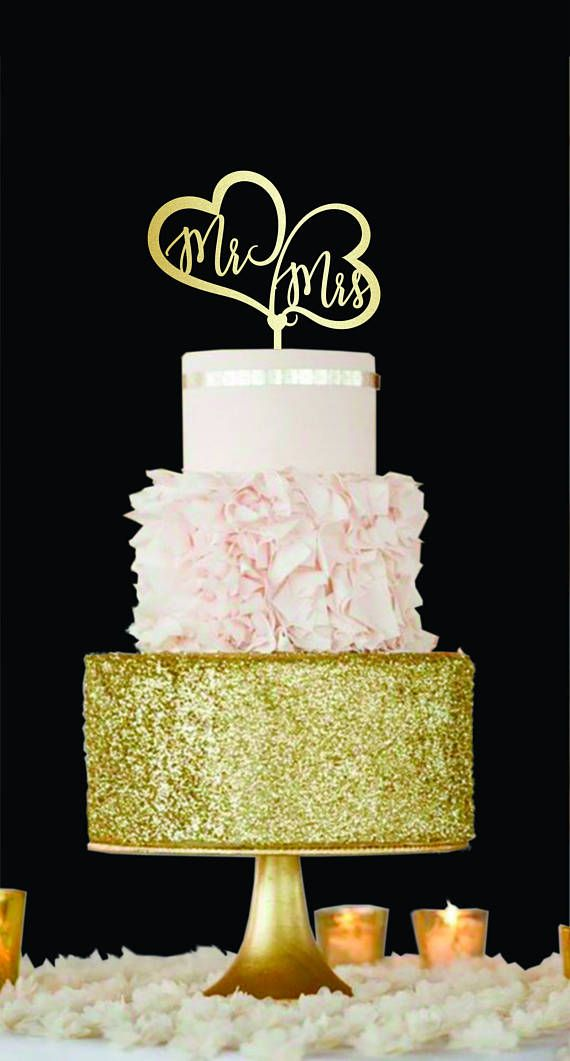 Mr and Mrs Wedding Cake Topper Hearts cake topper Gold | Mr& Mrs ...