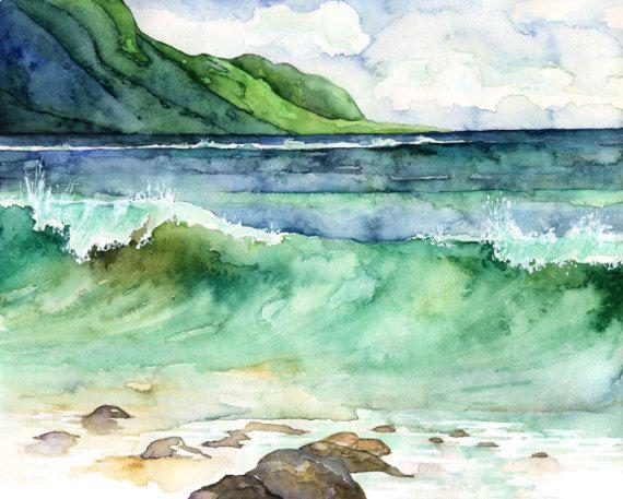Watercolor Hawaii Painting Print Titled Green Etsy Hawaii Painting Watercolor Ocean Watercolor Paintings