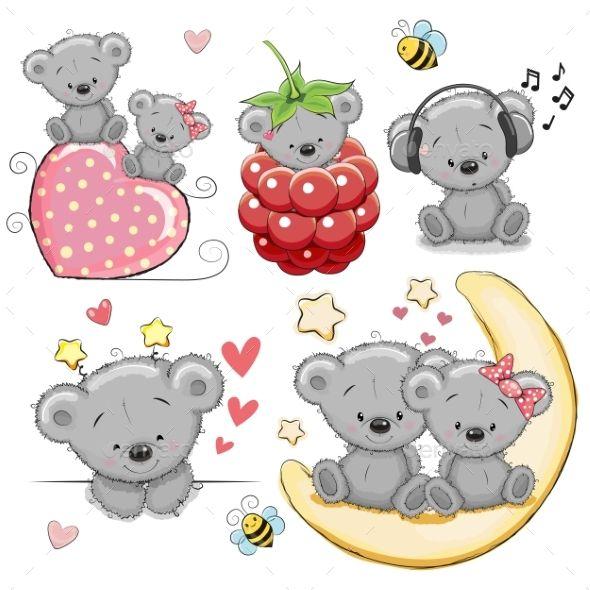 Set Of Cartoon Teddy Bears Teddy Bear Cartoon Cute Cartoon Pictures Cute Cartoon