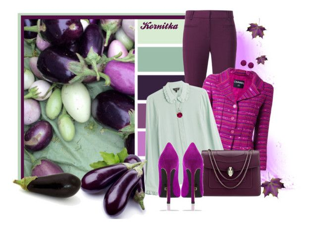 """""""nr 283 / 24 A Words for YOU: Aubergine"""" by kornitka ❤ liked on Polyvore featuring Rebecca Taylor, Chanel, Tara Jarmon, Bulgari, BillyTheTree, Amanda Rose Collection and Once Upon a Time"""