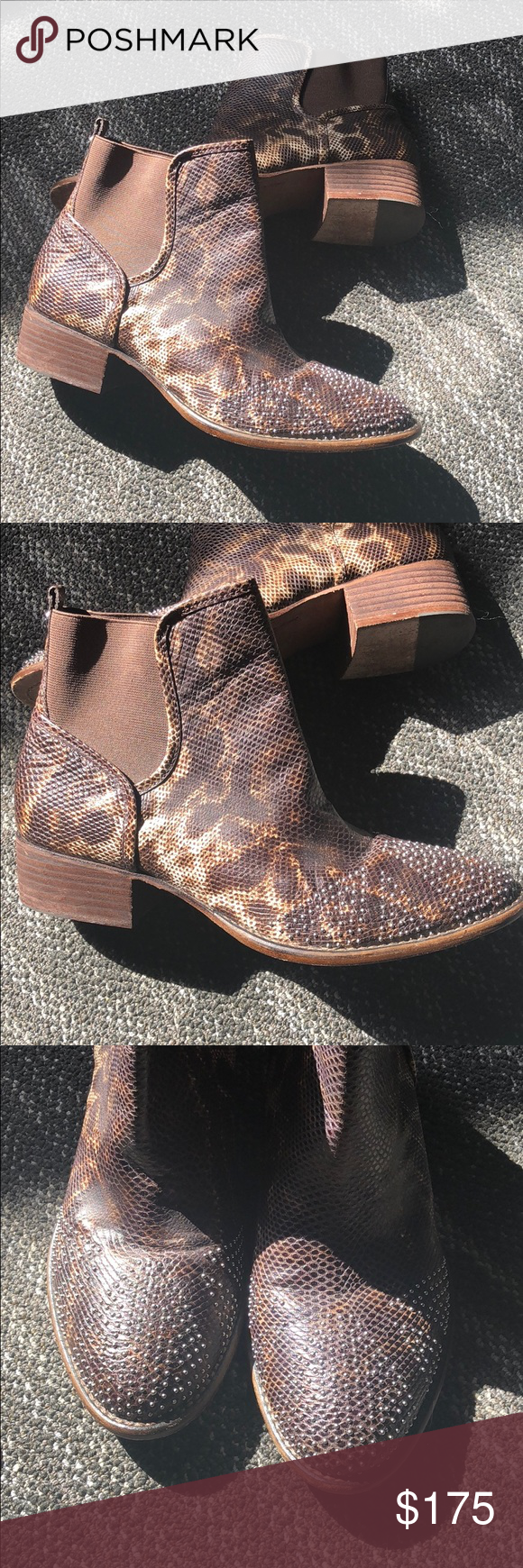 c8c8809c4595 Donald J Pliner Booties Excellent used condition - these boots are amazing!  - leopard snakeprint pattern with studs - the soles have some wear but  still a ...