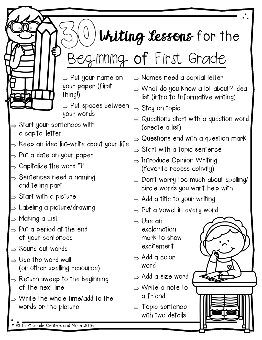 30 Writing Minilessons For The Beginning Of First Grade