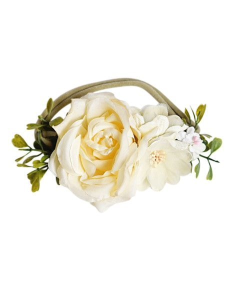 Floral Stretch Headband - Ivory | Children's and Baby Clothing Boutique | Bailey's Blossoms