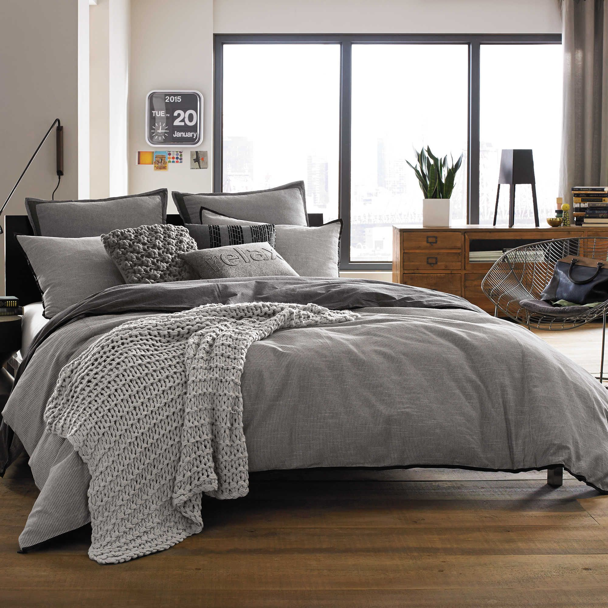 kenneth cole reaction home oxford duvet cover in grey stripe