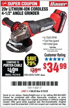 Bauer 20v Hypermax Lithium Cordless 4 1 2 In Heavy Duty Angle Grinder For 34 99 In 2020 Harbor Freight Tools Cordless Circular Saw Angle Grinder
