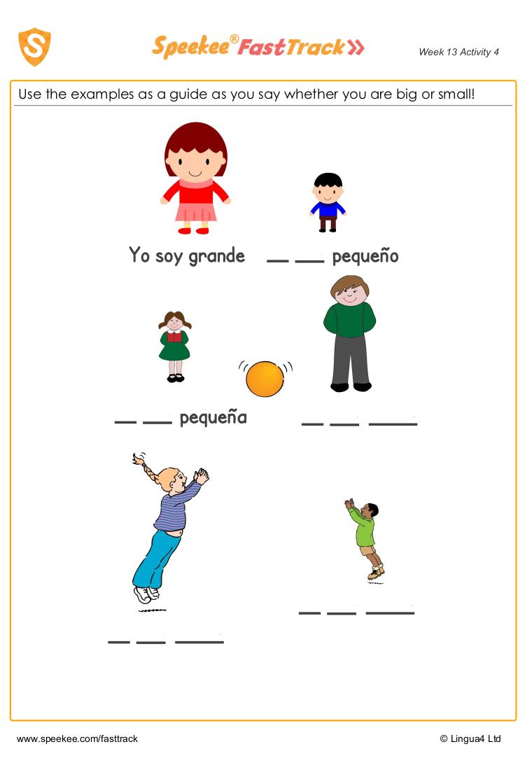 I M Big Small Free Spanish Worksheet For Kids Spanish Printables Homeschool Spanish Learning Spanish [ 1100 x 750 Pixel ]