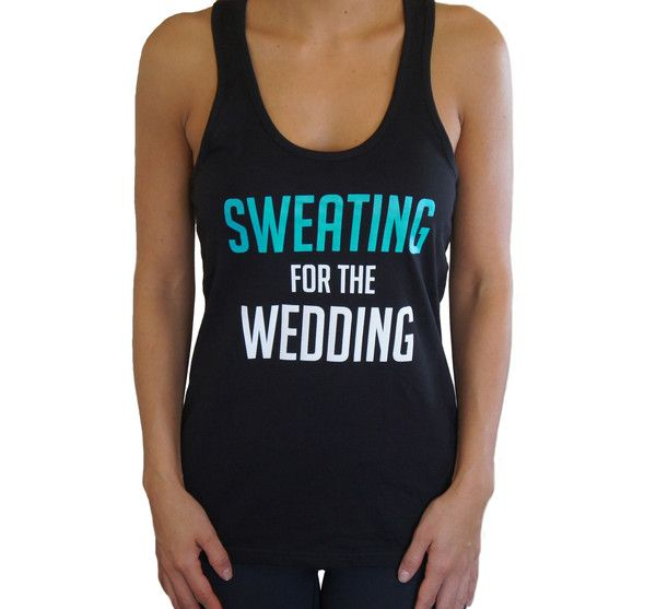 Sweating for the Wedding Workout Tank Top - AQUA and WHITE