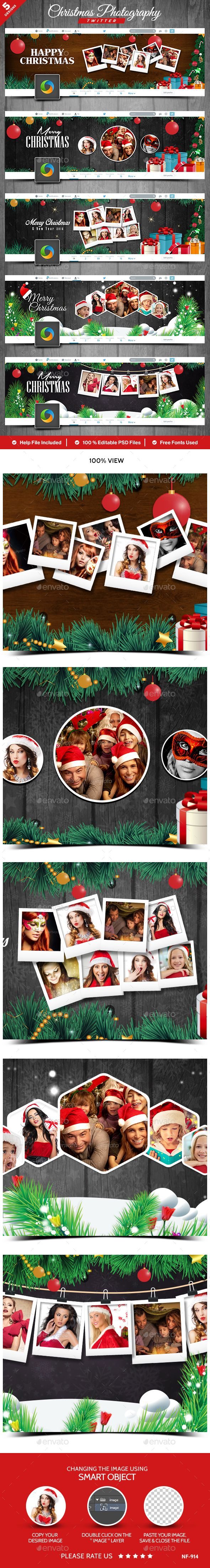 Christmas Photography Twitter Headers - 5 Designs