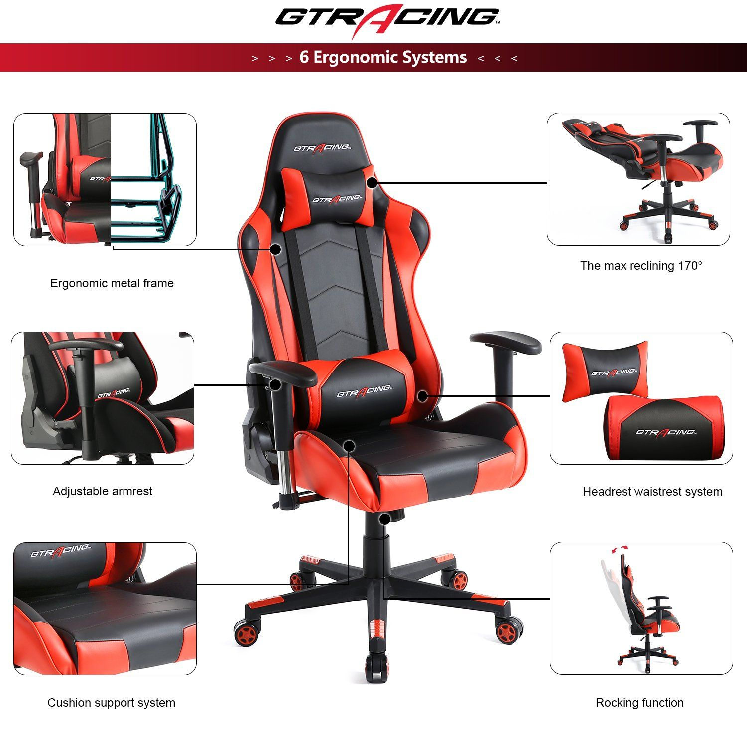 Gtracing Gaming Office Chair Racing Ergonomic Backrest