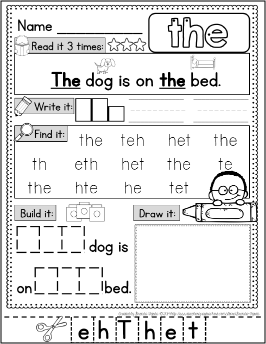 FREE Sight Word Practice Page | FirstGradeFaculty.com ...