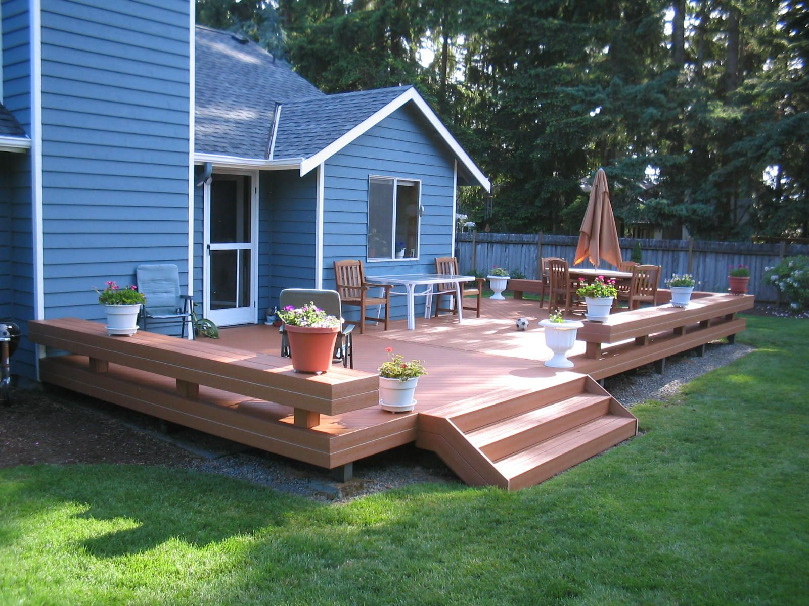 deck ideas like the open stairs flower box bench added to square