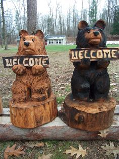 24 Chainsaw Carved Welcome Bear by carvnstitch on Etsy, $125.00