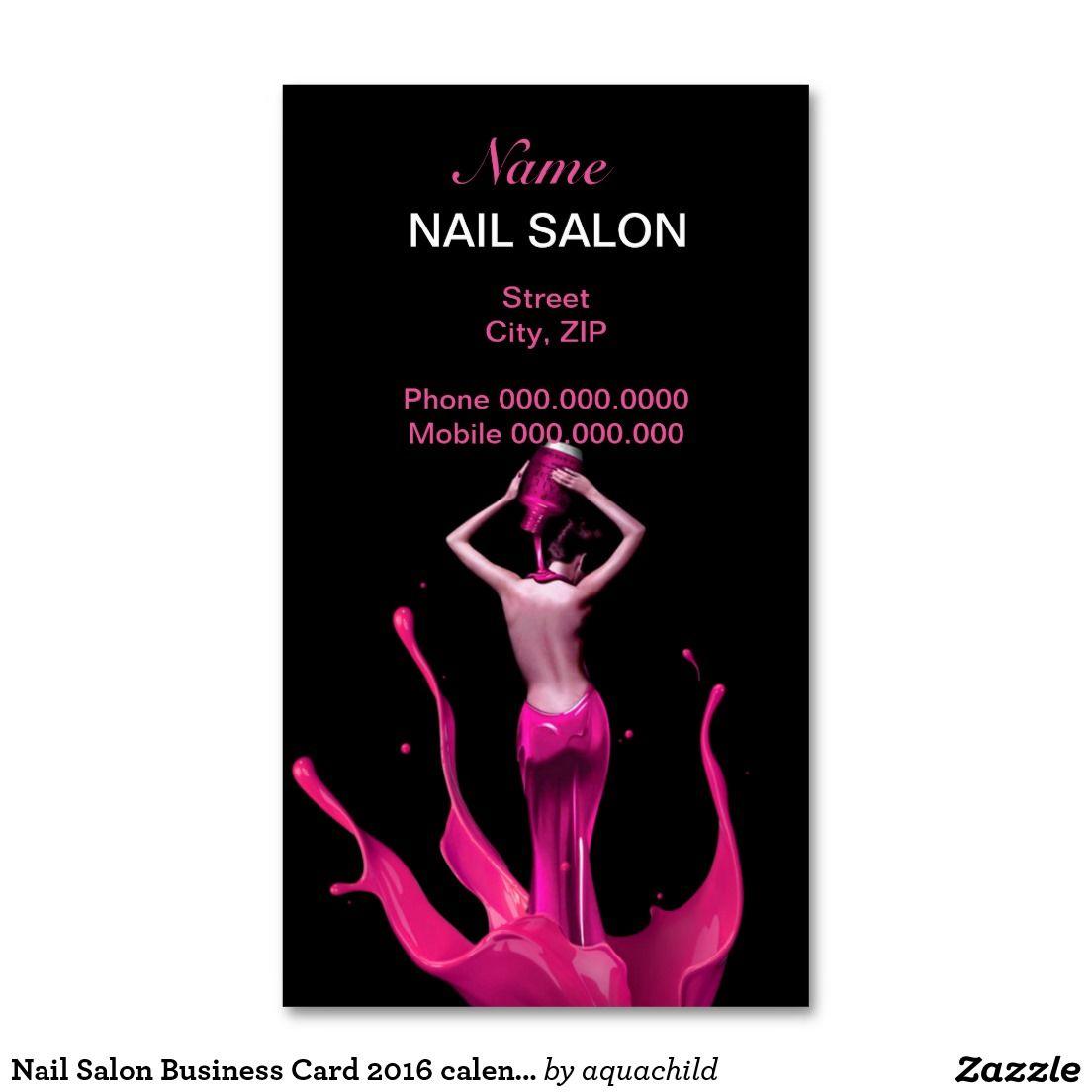 Nail Salon Business Card 2016 calendar Artist business
