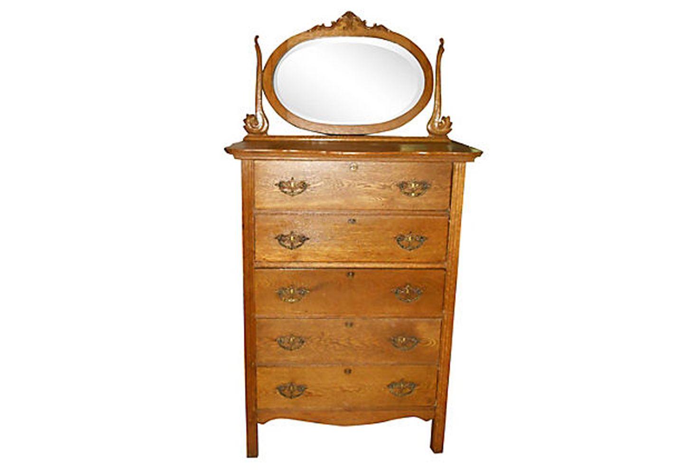 Antique Oak Highboy With Mirror