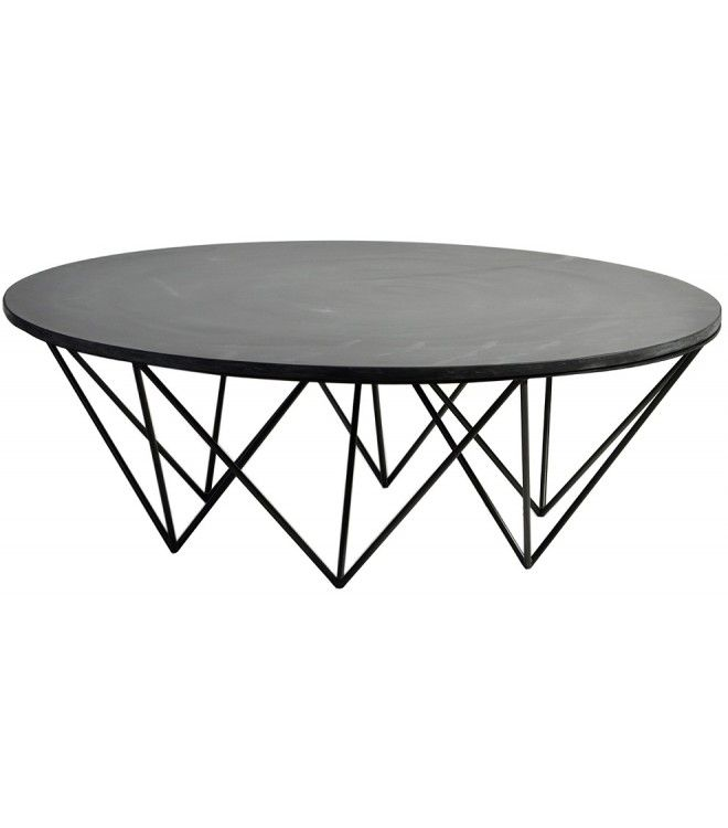 Black Round Slate Coffee Table
