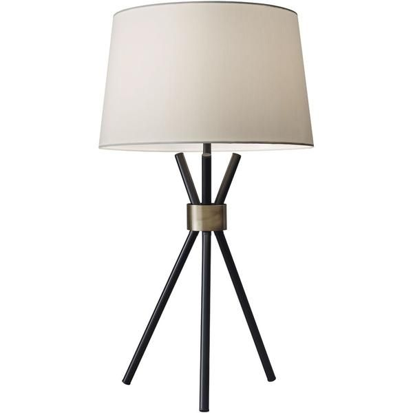 A Stunning Silhouette With Minimal Elements The Bennett Table Lamp Is A Tripod Of Black Metal Legs Gathe In 2021 Mid Century Modern Table Lamps Black Table Lamps Lamp