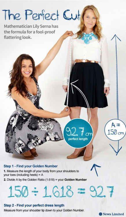 """Veja como encontrar o seu """"número de ouro"""" também conhecido como o comprimento do vestido perfeito para o seu corpo."""