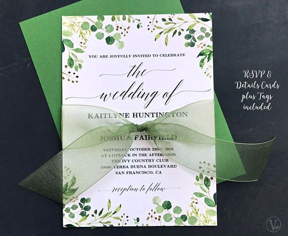 Rustic Greenery Wedding Invitation, Printable Floral Greenery - fresh wedding invitation vector templates free download