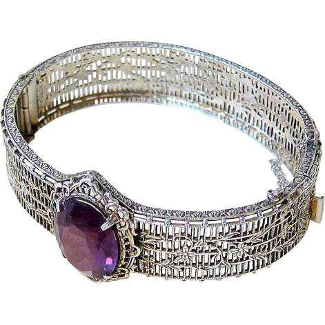 Ostby & Barton Art Deco Sterling Filigree Bangle