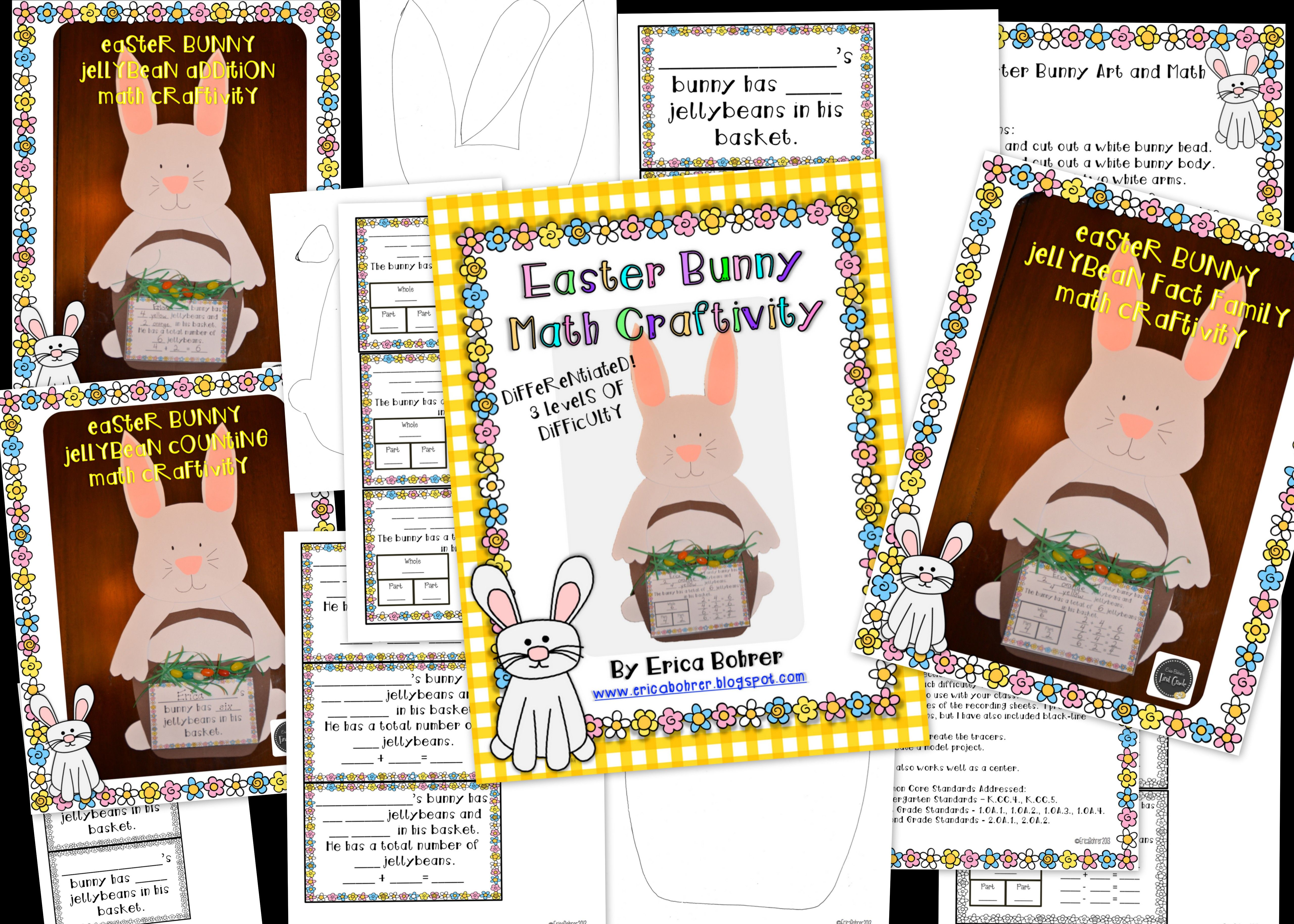 Easter Bunny Math Craftivity Differentiated